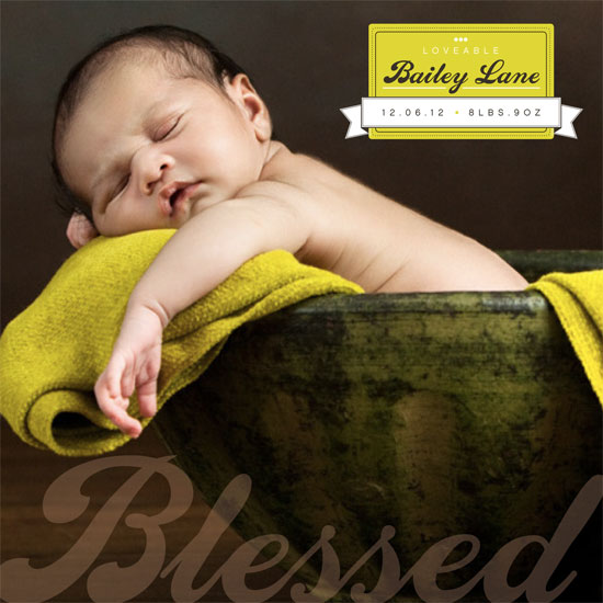birth announcements - Blessed by Amy Dennis