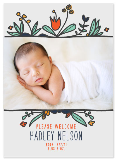 birth announcements - Floral Pop by Lisa Nelson