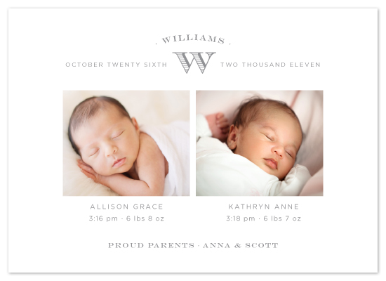 birth announcements - pure monogram by Toast & Laurel