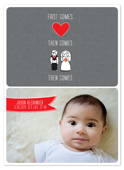 birth announcements - First Comes Love by Edub Graphic Design