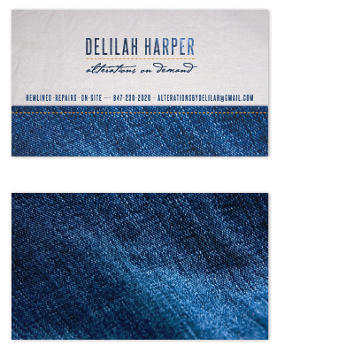 business cards - Denim Delilah by Bleu Collar Paperie
