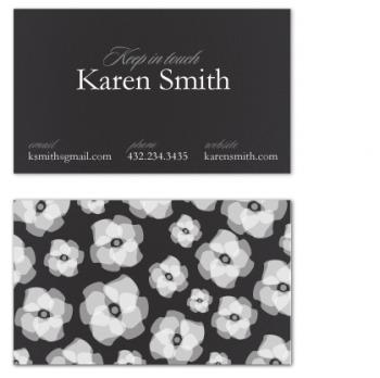 a black, white & professional business card