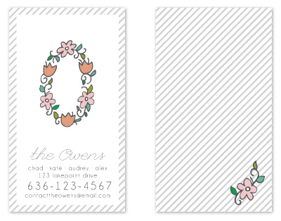 business cards - floral monogram by Jen Owens