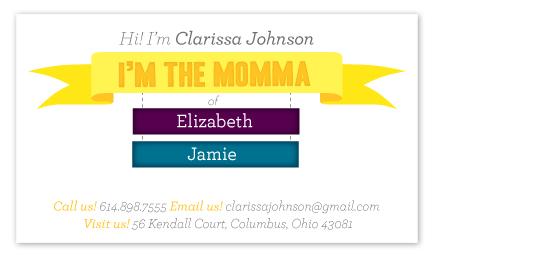 business cards - I'm the Momma! by våre hender