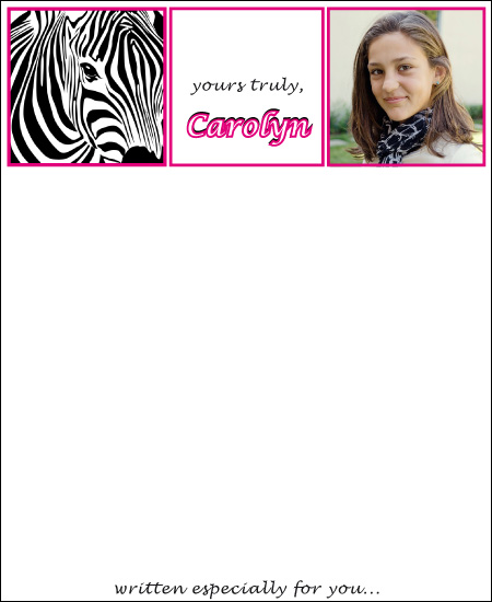 personal stationery - zebra girl by d greene