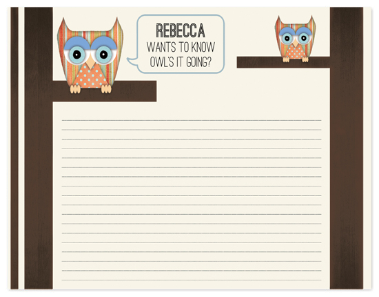 personal stationery - Owl's It Going? by Rachel Whitehurst