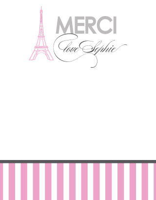 personal stationery - Merci beaucoup! by Preppy Paperie
