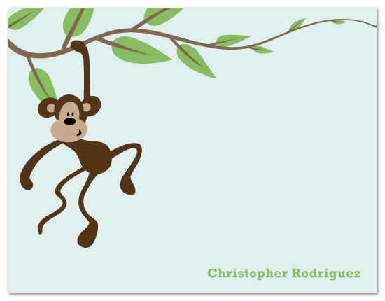 personal stationery - Monkey Swinging on Vine by Nicki Davis
