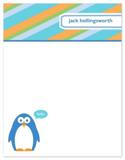 personal stationery - Hello, Penguin by Susan Crispell