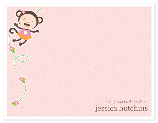 personal stationery - Little Monkey Girl by Coco and Ellie Design
