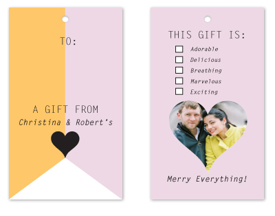 gift tags - gold and rose banner tag by Potluck Design