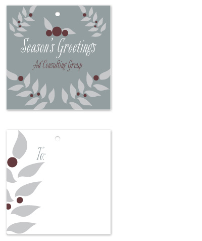 gift tags - Holly branch corporate tag by Potluck Design