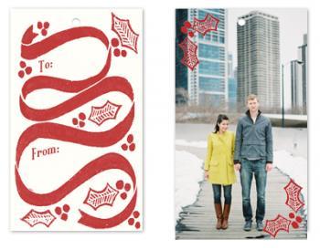 Block Printed Holly and Ribbon