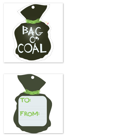 gift tags - Bag O' Coal  by Jessica Kwok