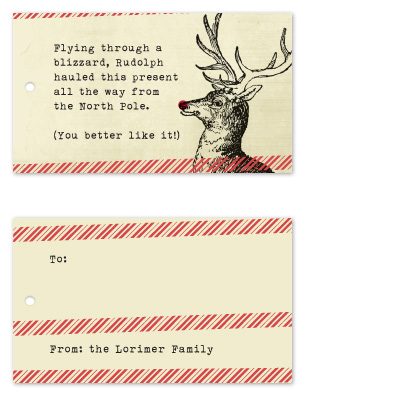 gift tags - Rudolph by Ann Gardner