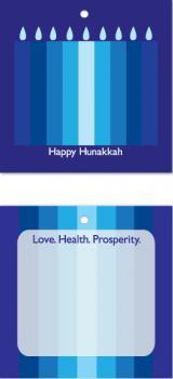 Nine Blue Hanukkah candles