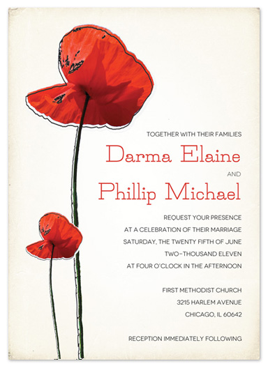 wedding invitations - Pastiche Poppies by Bleu Collar Paperie