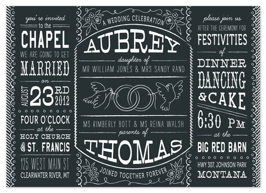 wedding invitations - Bistro Board by 2birdstone