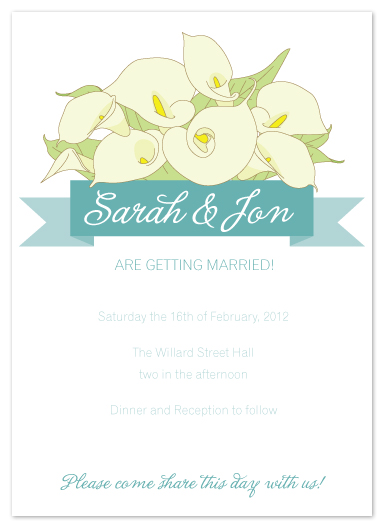 wedding invitations - Calla Lily Bunch by Sharon Rowan