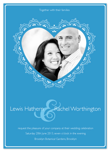 wedding invitations - Lace Decorated Heart by Debbie Daley