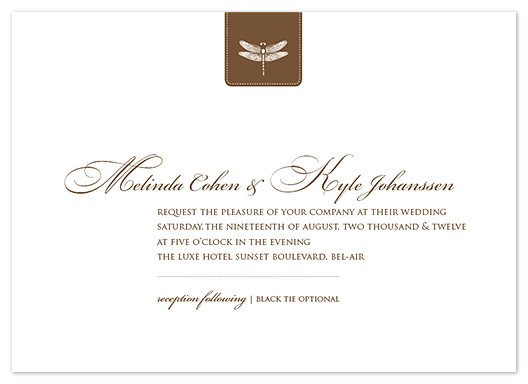 wedding invitations - Classic Dragonfly Emblem by bumble ink