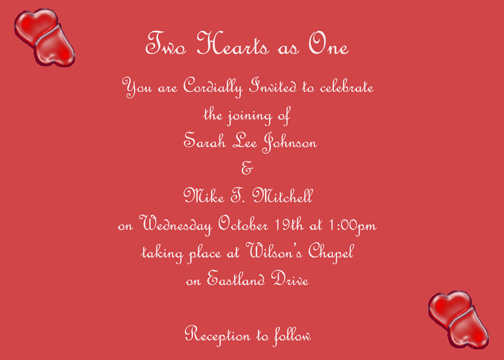 wedding invitations - Two Hearts as One by Cassandra Boone