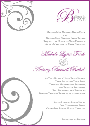 wedding invitations - Believe in Love by d greene