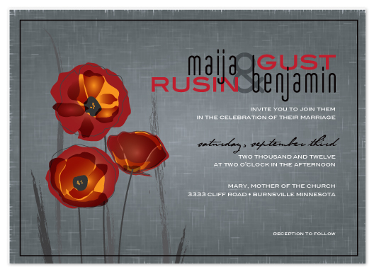 wedding invitations - Pocket full of poppies by The Papier Palette