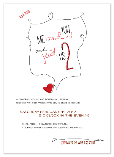 wedding invitations - Just Us Two by Carol Fazio