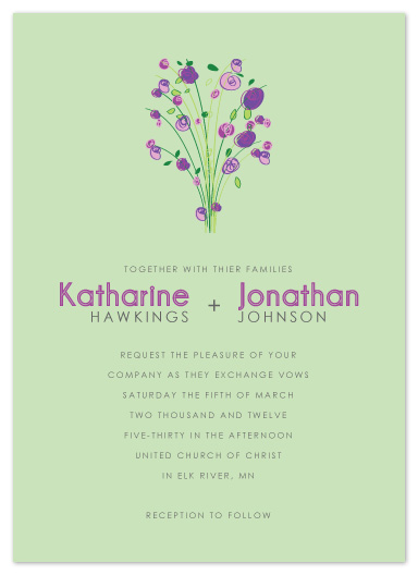 wedding invitations - Purple Flowers by Jen Wawrzyniak