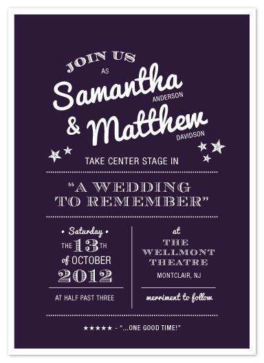 wedding invitations - Center Stage by Sandra Picco Design