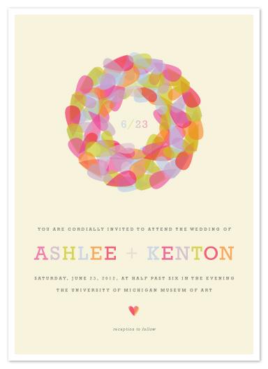 wedding invitations - Pastel Wreath by Kristie Kern