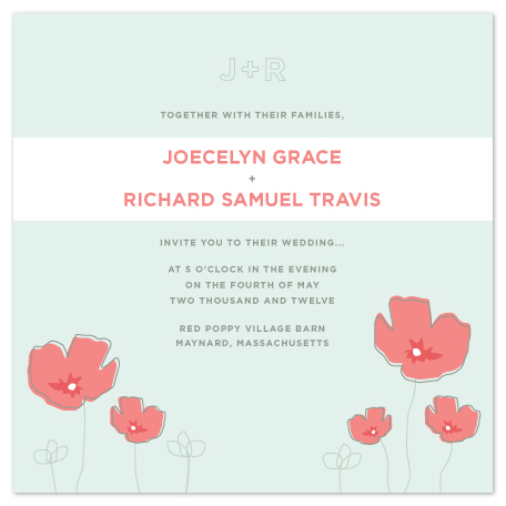 wedding invitations - Poppies at Twilight by emily elizabeth stationery