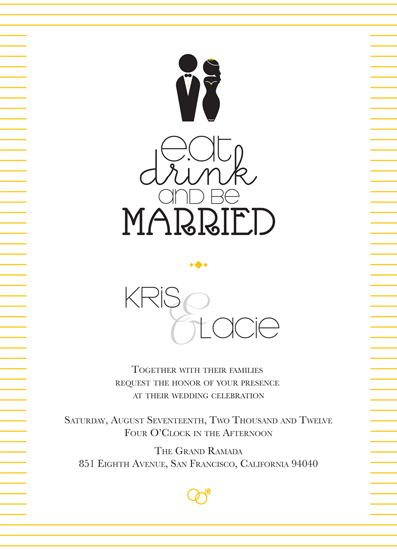 wedding invitations - Eat, Drink, and be Married Sunshine Stripe by carrie luu