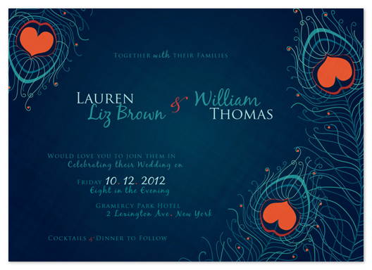 wedding invitations - Peacock Hearts by Rachel Mense