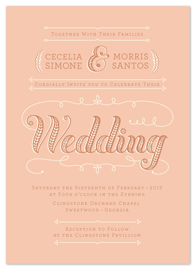 wedding invitations peaches cream by susie allen - Peach Wedding Invitations