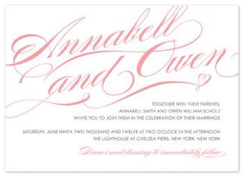 Delicate Script Wedding Invitation