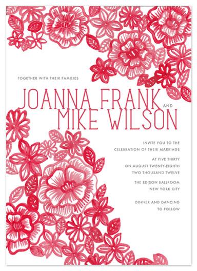 wedding invitations - Painted Flowers by Katharine Watson