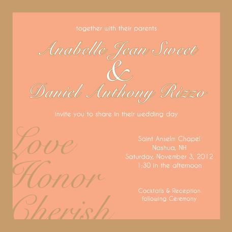 wedding invitations - Love, Honor, Cherish by Lisa Zizza McSweeney
