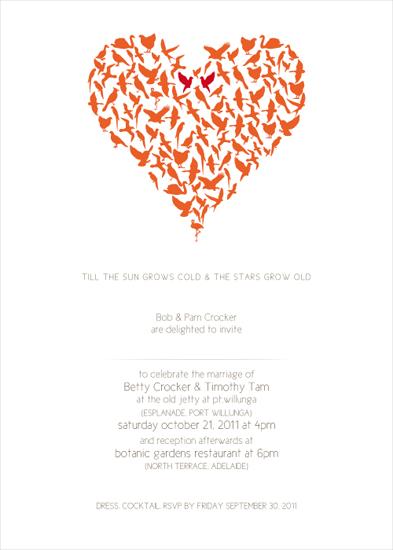 wedding invitations - lovebirds by ross