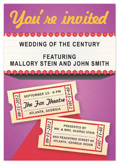 wedding invitations - Now Showing Wedding Invite by Kate Terhune