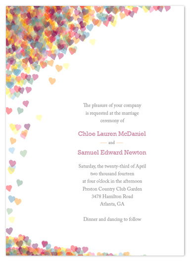 wedding invitations confetti hearts at minted com