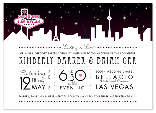 Wedding Invitations Vegas Skyline