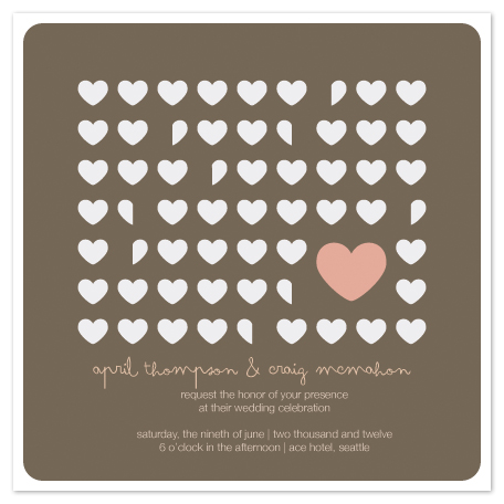 wedding invitations - flutter hearts by moca