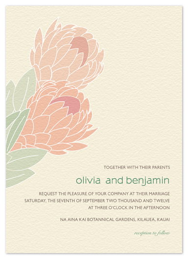 wedding invitations - Tropical Protea by Phoebe Wong-Oliveros