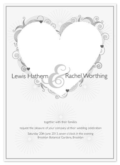 wedding invitations - Decorative White Heart by Debbie Daley