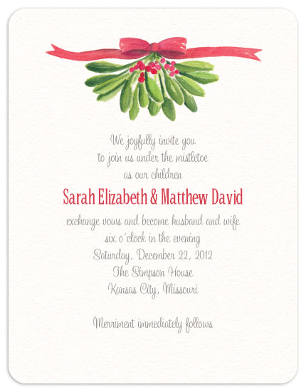 38bf75b5061cdd4679820a1f9c8a0bba wedding invitations under the mistletoe at minted com,