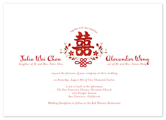 wedding invitations Floral Double Happiness at Mintedcom