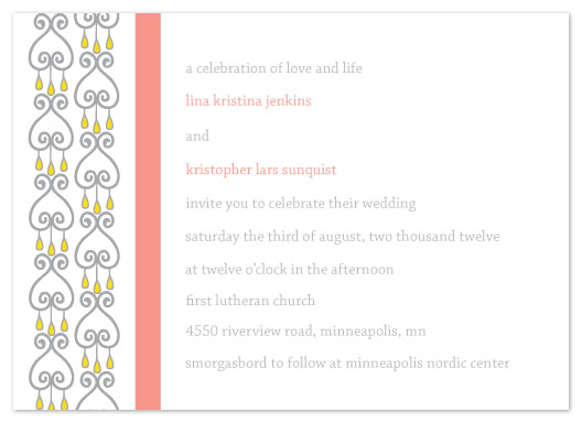 wedding invitations - Pewter Drop Hearts by Jenn Johnson
