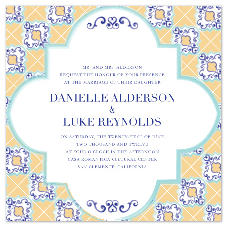 wedding invitations - Spanish Tile by Jacqueline Dziadosz
